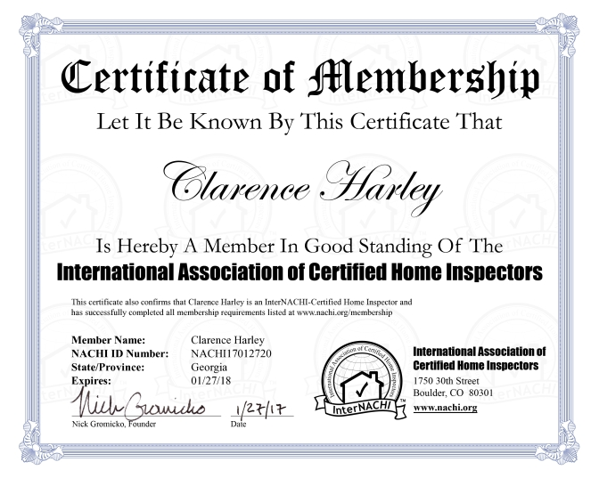 Clarence Harley Certificate